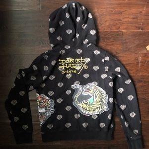 Ed Hardy Black Zip Up Sweatshirt with hood